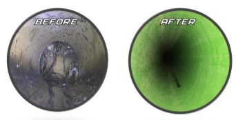 Before and after cured-in-place pipe rehabilitation